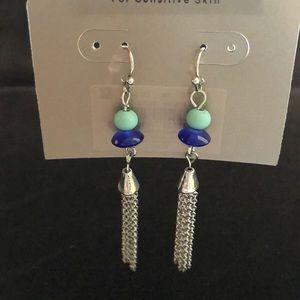 New French hook dangle chain bead earrings blue